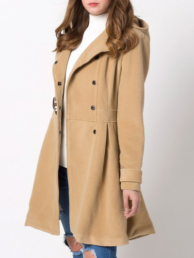 Hooded Skirted Duffle Coat - CAMEL 2XL Mobile
