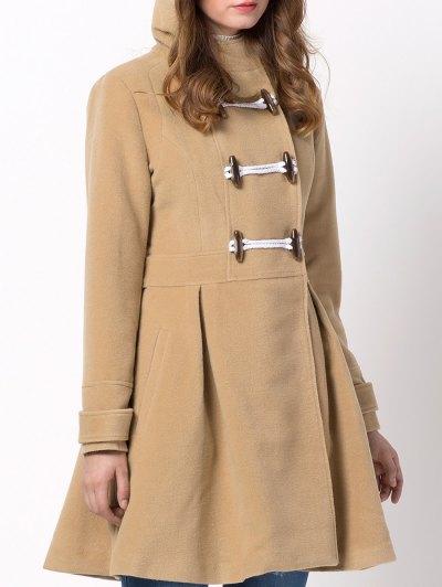 Hooded Skirted Duffle Coat - CAMEL L Mobile