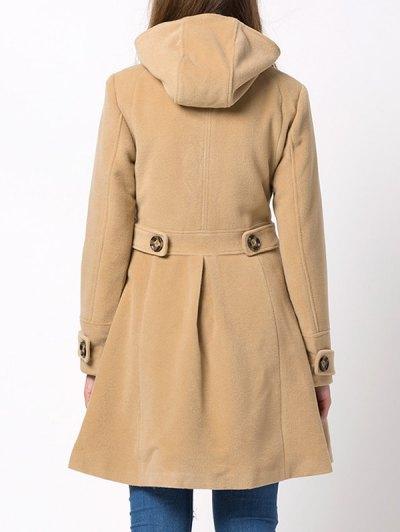Hooded Skirted Duffle Coat - CAMEL XS Mobile