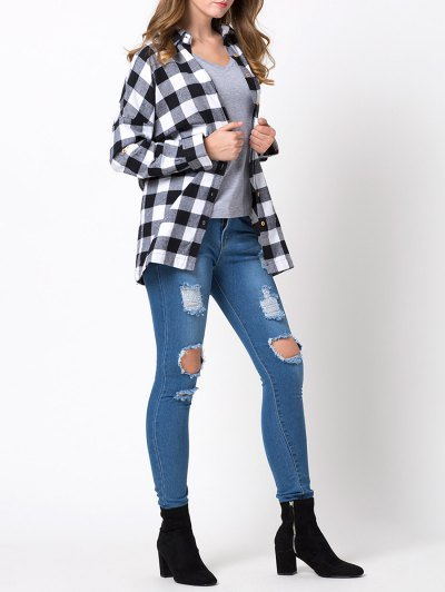Long Checked Shirt - WHITE AND BLACK 2XL Mobile
