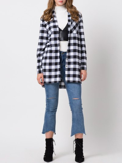 Checked High-Low Shirt - WHITE AND BLACK XL Mobile