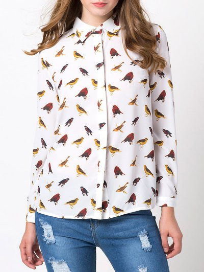 Bird Print Chiffon Shirt - WHITE L Mobile