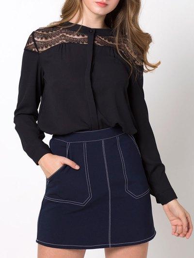 Lace Insert High-Low Blouse - BLACK L Mobile