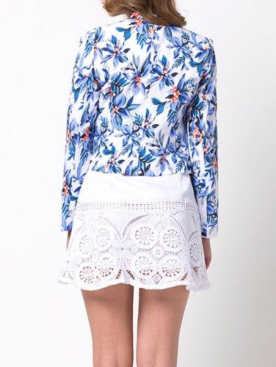 Open Front Floral Blazer - BLUE XL Mobile