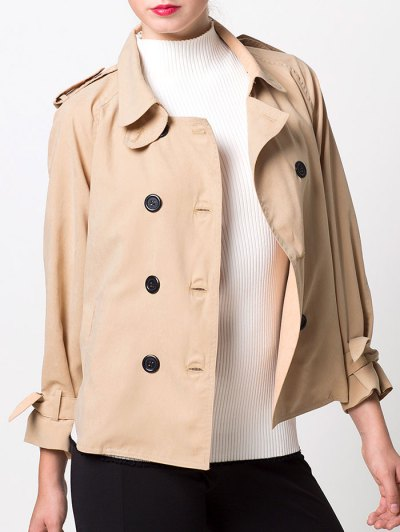 Double-Breasted Duster Jacket - KHAKI S Mobile