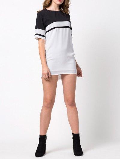 Color Block Casual Dress - WHITE S Mobile