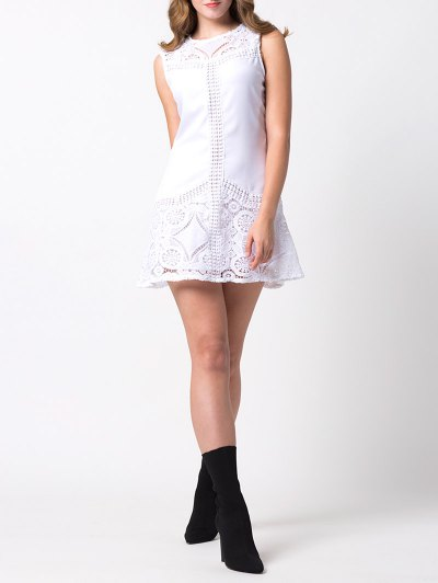 Lace Insert Cut Out A-Line Dress - WHITE XS Mobile