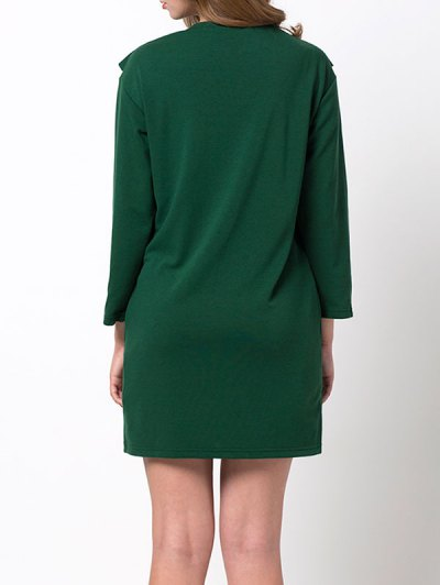 Ruffles Long Sleeve Mini Dress - GREEN S Mobile