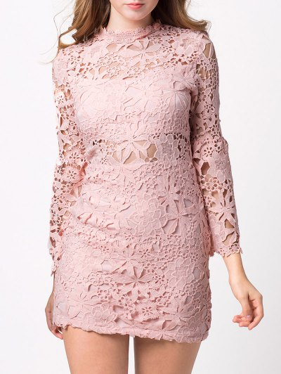 Cut Out Flare Sleeve Lace Dress - PINK L Mobile