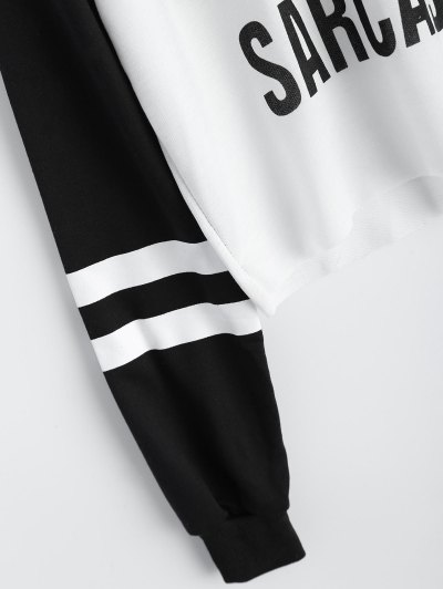 Text Print Cropped Pullover Hoodie - WHITE AND BLACK M Mobile