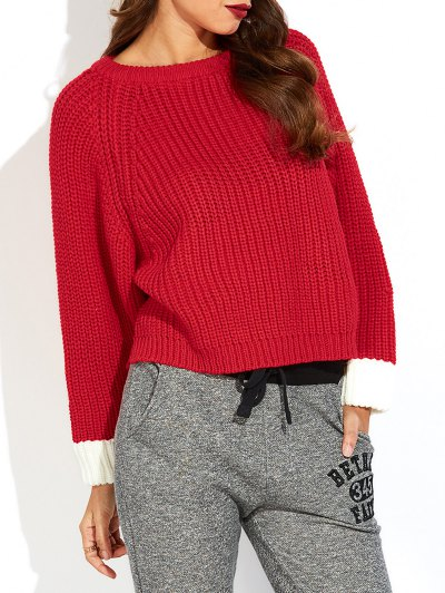 Color Block Batwing Sleeve Ribbed Sweater - RED ONE SIZE Mobile