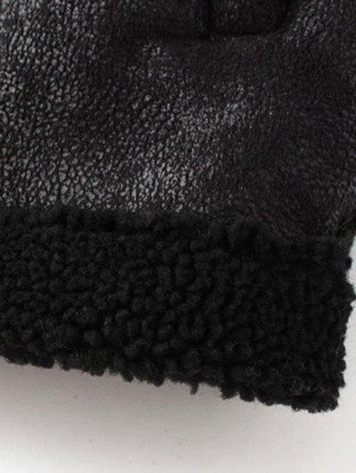 Detachable Fur Collar Suede Waistcost - BLACK XL Mobile