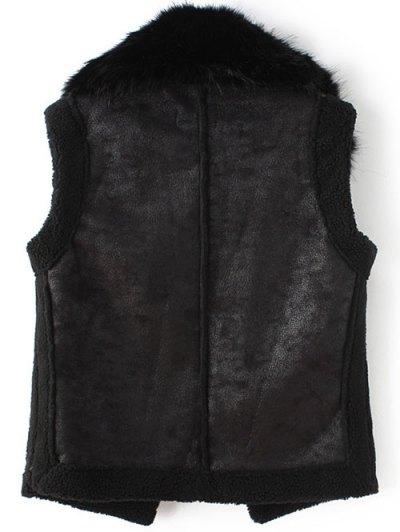 Detachable Fur Collar Suede Waistcost - BLACK L Mobile