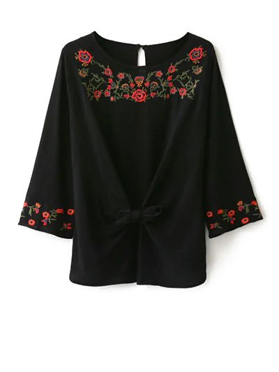 Embroidered Front Knot Blouse - BLACK L Mobile