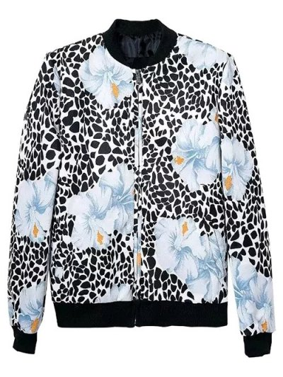 Flower Patterned Bomber Jacket - COLORMIX S Mobile