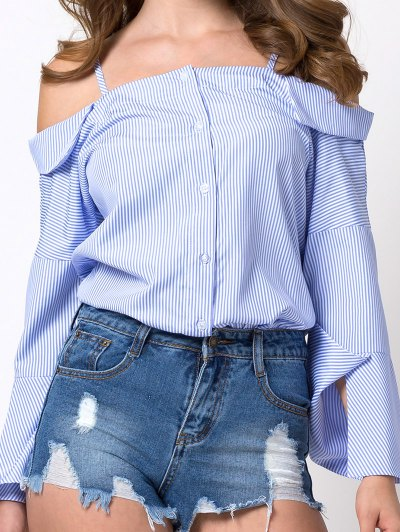 Flare Sleeve Cold Shoulder Blouse - BLUE AND WHITE XL Mobile