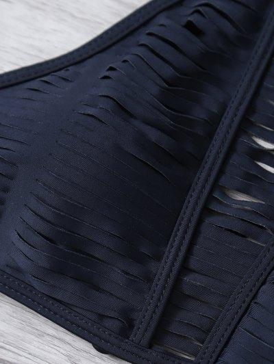 Sheer Stripe High Neck Bikini Set - BLACK L Mobile