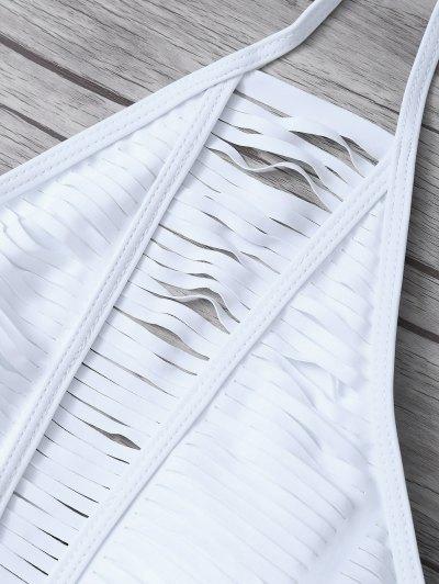 Sheer Stripe High Neck Bikini Set - WHITE XL Mobile