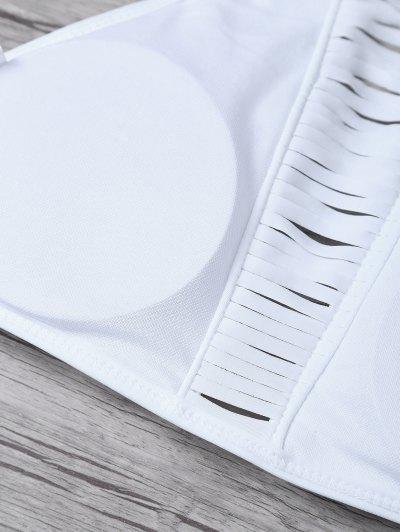 Sheer Stripe High Neck Bikini Set - WHITE L Mobile