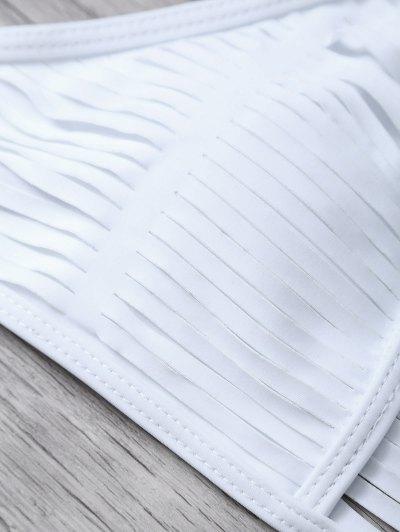Sheer Stripe High Neck Bikini Set - WHITE M Mobile