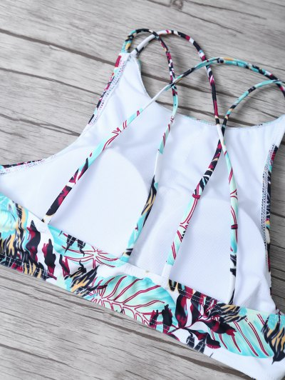 Leaf Print High Neck Bikini Set - MULTICOLOR S Mobile