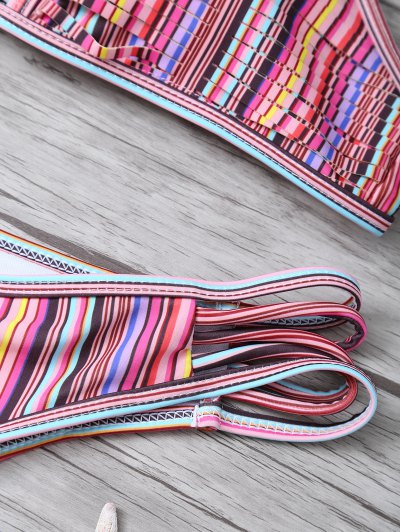 High Neck Striped Split Bikini - MULTICOLOR XL Mobile