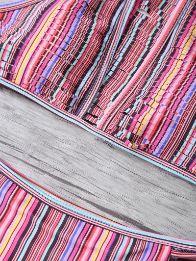 High Neck Striped Split Bikini - MULTICOLOR M Mobile
