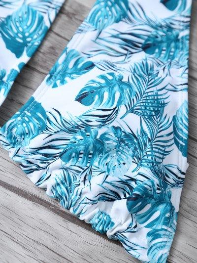 Leaf Print High Neck Keyhole Bikini - BLUE AND WHITE XL Mobile