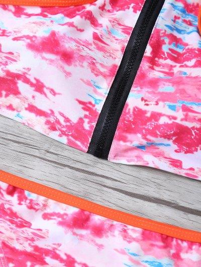 Printed High Neck Zip Front Bikini - MULTICOLOR XL Mobile