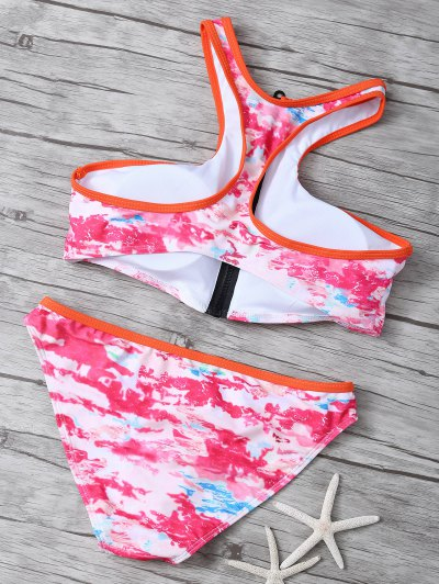 Printed High Neck Zip Front Bikini - MULTICOLOR M Mobile