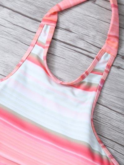 High Neck Gradient Color Bikini - MULTICOLOR XL Mobile