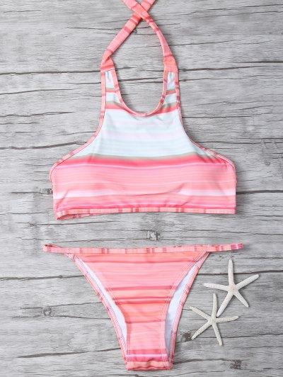 High Neck Gradient Color Bikini - MULTICOLOR M Mobile