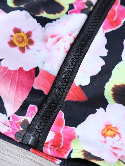 Floral Print High Neck Zip Front Bikini - FLORAL L Mobile