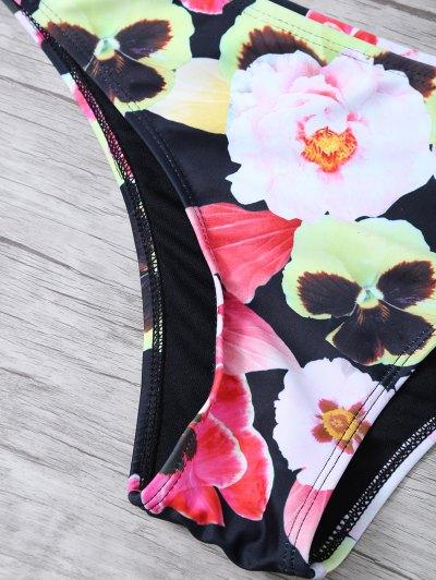 Floral Print High Neck Zip Front Bikini - FLORAL M Mobile