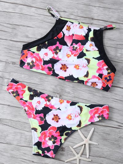 Floral Print High Neck Zip Front Bikini - FLORAL S Mobile