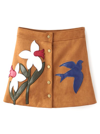 Leather Patch Floral Suede Skirt - GINGER M Mobile