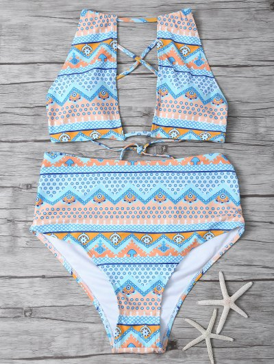 Cut Out High Neck Bikini Set - MULTICOLOR L Mobile