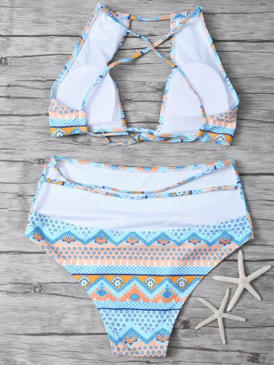Cut Out High Neck Bikini Set - MULTICOLOR M Mobile