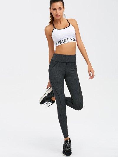 Graphic Bra and Bodycon Yoga Leggings - WHITE S Mobile