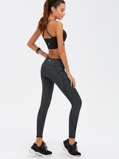 Graphic Bra and Bodycon Yoga Leggings - BLACK L Mobile