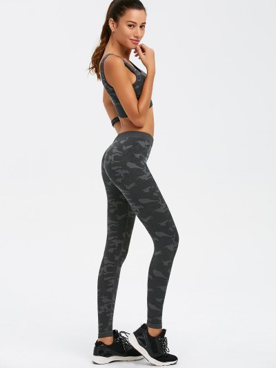 Camouflage Bra and Bodycon Yoga Leggings - CAMOUFLAGE M Mobile