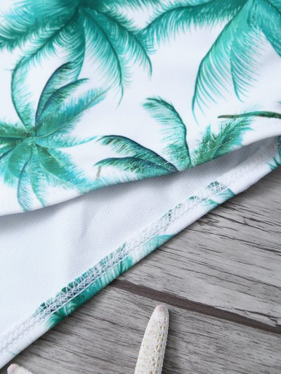 Palm Tree Print One Piece Swimsuit - WHITE AND GREEN XL Mobile