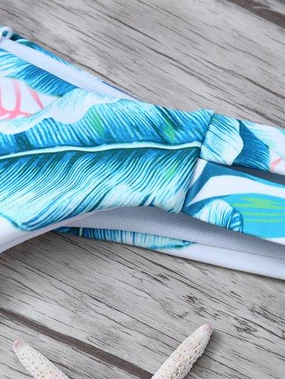 Palm Tree High Neck Bikini Set - WHITE S Mobile