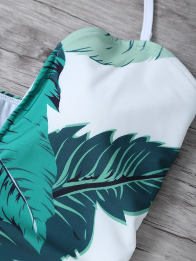 Palm Leaf Print One Piece Swimsuit - WHITE AND GREEN M Mobile