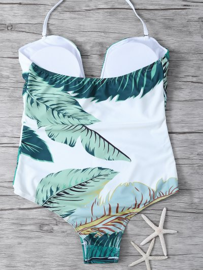 Palm Leaf Print One Piece Swimsuit - WHITE AND GREEN S Mobile