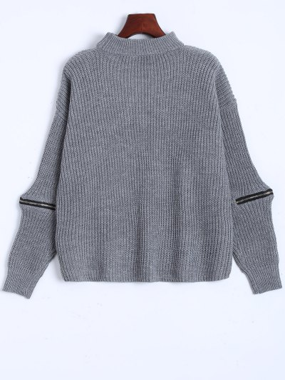 Ribbed Zipper Choker Swater - GRAY ONE SIZE Mobile