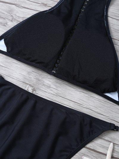 Floral Print Ladder Trim High Neck Bikini - BLACK M Mobile