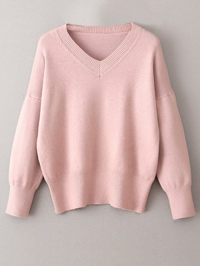 V Neck Long Sleeve Pullover Knitwear - PINK ONE SIZE Mobile