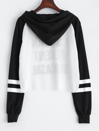 Text Print Cropped Pullover Hoodie - WHITE AND BLACK S Mobile