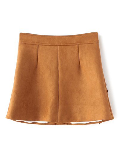 Leather Patch Floral Suede Skirt - GINGER L Mobile